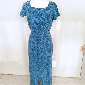 Liz Claiborne Retro 90s Button Down Maxi Dress